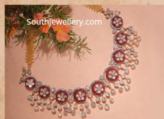 floral polki diamond necklace