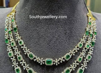 layered diamond emerald necklace