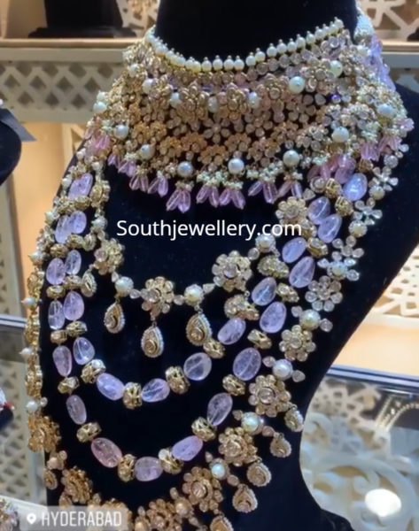 polki diamond and beads necklaces by jatin mor jewellers