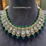 polki diamond and emerald necklace