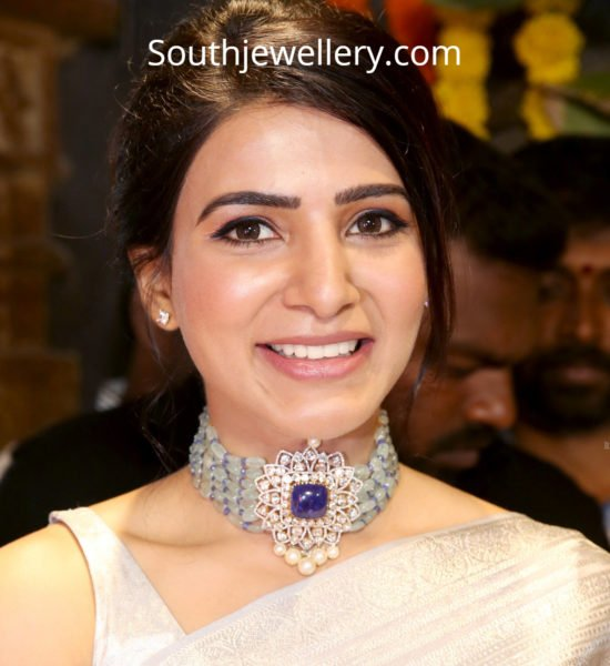 samantha akkineni in beads choker by akoya jewels