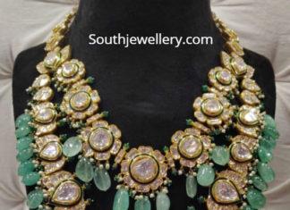 two step heavy polki necklace