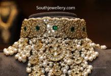 uncut diamond and pearl choker