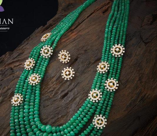 emerald beads mala with diamond motifs
