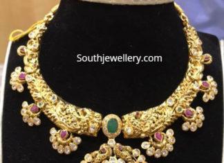 antique gold kanthi nakshi necklace