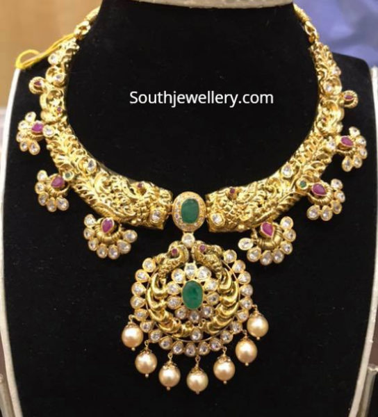 antique gold kanthi nakshi necklace