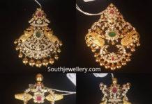 closed setting diamond peacock pendants