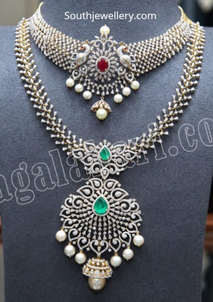 diamond peacock necklace and haram