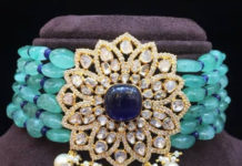 emerald beads choker with polki diamond pendant