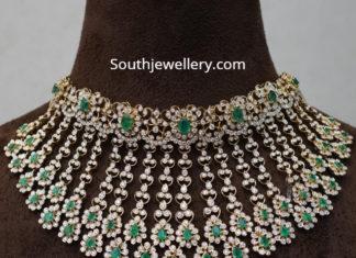 floral diamond emerald choker