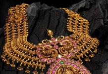 gold haram with lakshmi pendant