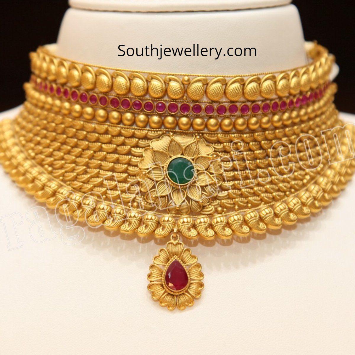 c7324a11d3fab Latest antique gold choker collection by Malabar Gold and Diamonds ...