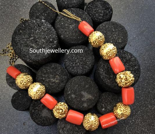 nakshi balls and coral beads mala