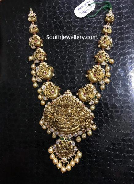 peacock haram lakshmi pendant