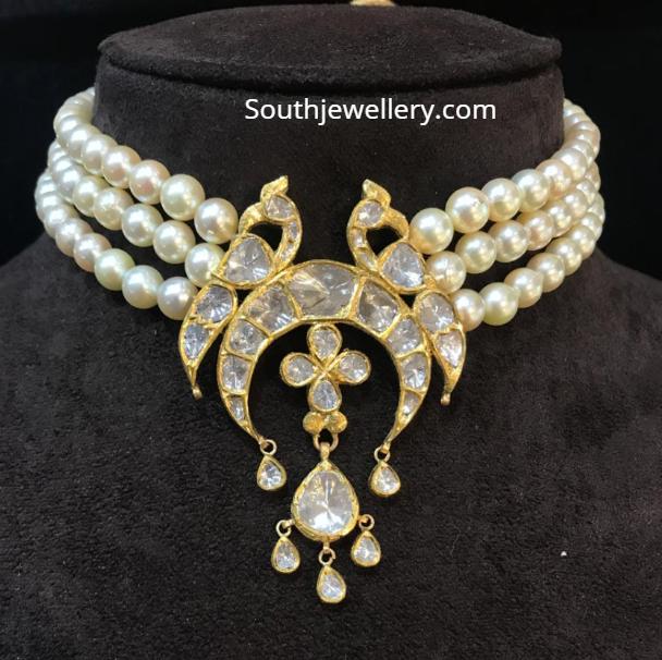 pearl choker with polki peacock pendant
