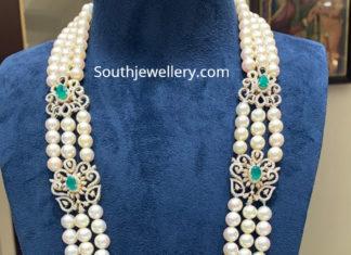 pearls mala with diamond peacock pendant