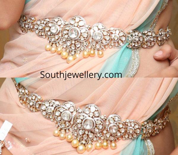 polki diamond waist belt
