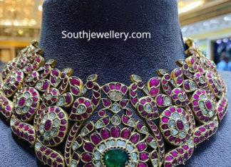 ruby polki peacock necklace