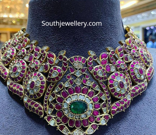 ruby polki peacock necklace