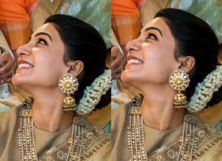 samantha jewellery at venkatesh daughter wedding