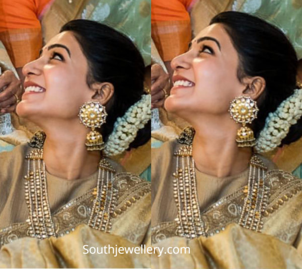 samantha jewellery at venkatesh daughter wedding