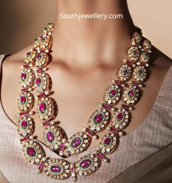 two step polki ruby necklace