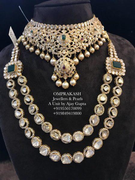 flat diamond necklace and haram