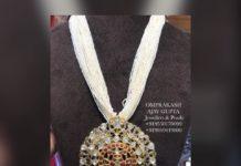 pearl chain with polki diamond pendant