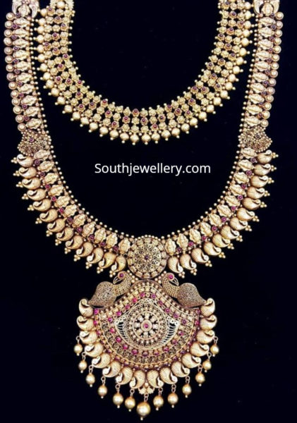 antique gold necklace and mango haram