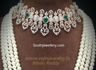 diamond emerald choker and pearl mala