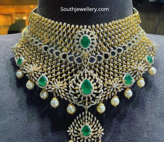 diamond emerald choker designs