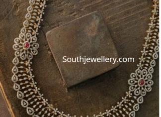 diamond haram with floral pendant