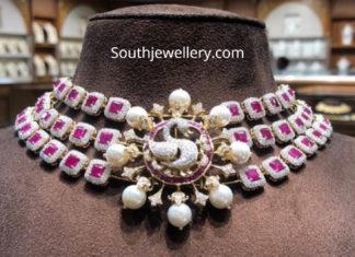 diamond ruby choker with peacock pendant