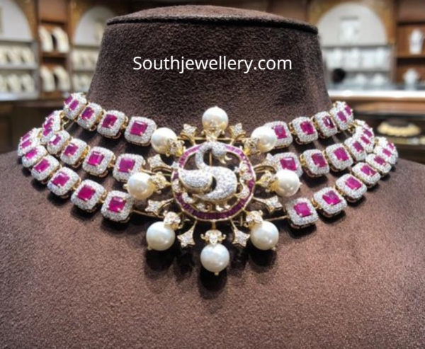 diamond ruby choker with peacock pendant
