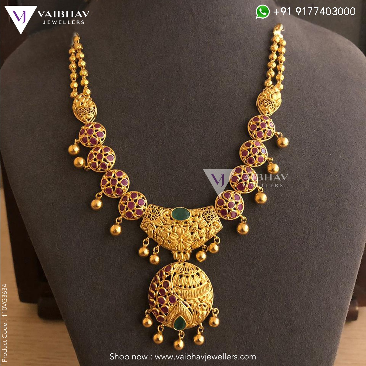 741f92cd17e31 Antique gold ruby necklace designs by Vaibhav Jewellers - Jewellery ...