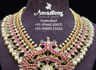 kundan polki necklace with peacock pendant