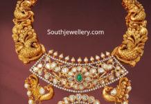 peacock nakshi necklace with uncut diamond pendant