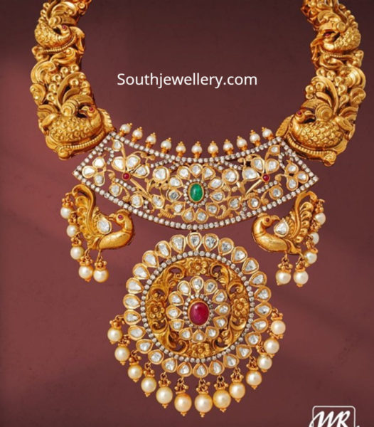 peacock nakshi necklace with uncut diamond pendant
