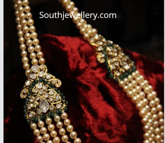 pearl mala with polki diamond pendants