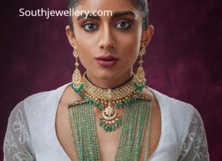 polki choker and emerald beads mala