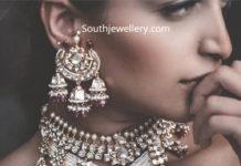 polki diamond choker earrings