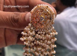 polki pearl earrings