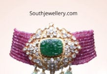 ruby choker with polki emerald pendant