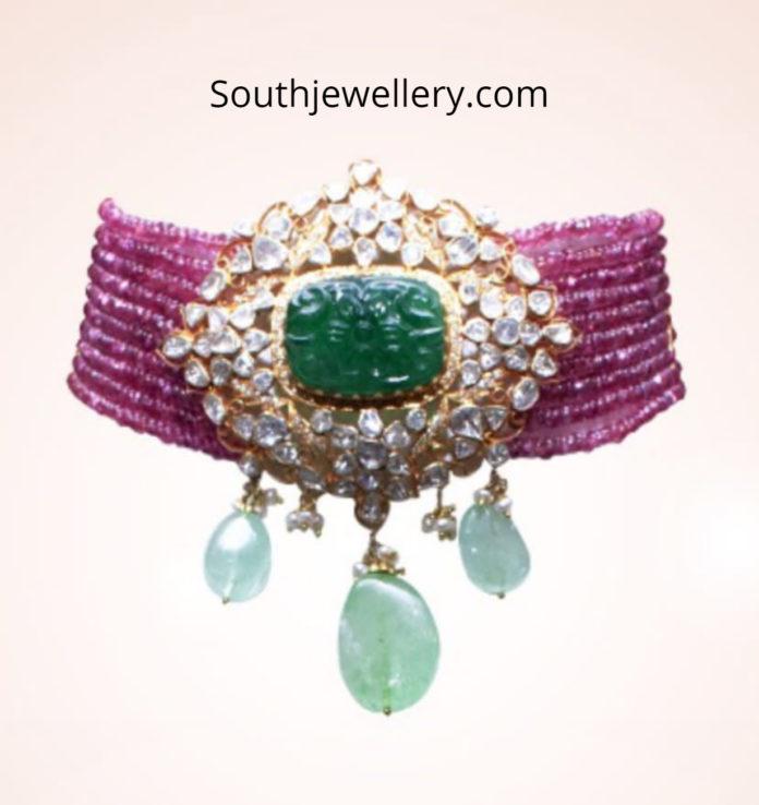 ruby choker with polki emerald pendant