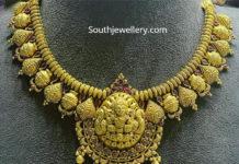 traditional gold necklace lakshmi pendant