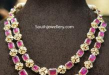 layered ruby polki necklace