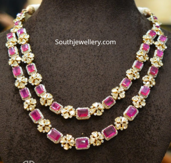 layered ruby polki necklace