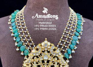 pearl and emerald beads mala