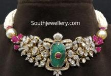 pearl choker with polki diamond pendant