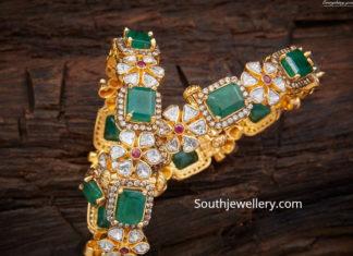 uncut diamond and emerald bangles